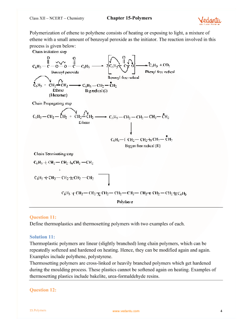 NCERT Solutions for Class 12 Chemistry Chapter 15 Polymers - Free PDF