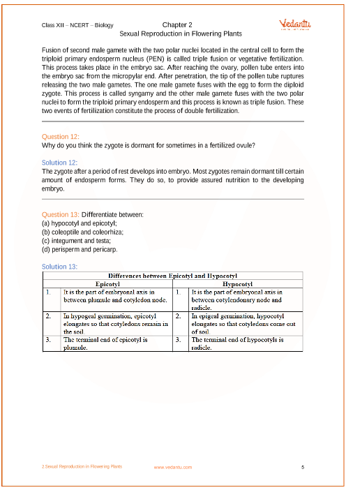 NCERT Solutions for Class 12 Biology Chapter 2 Sexual