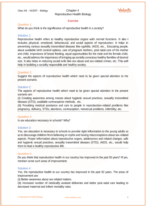 NCERT Solutions for Class 12 Biology Chapter 4 Reproductive
