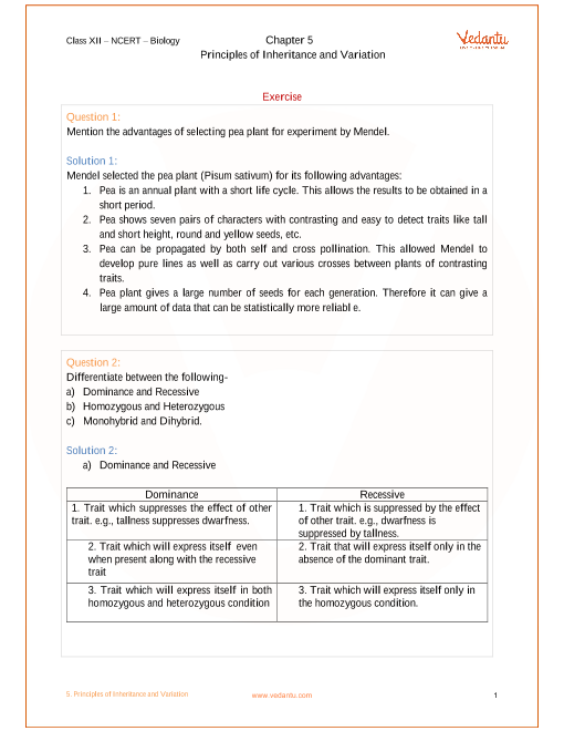 NCERT Solutions for Class 12 Biology Chapter 5 Principles of