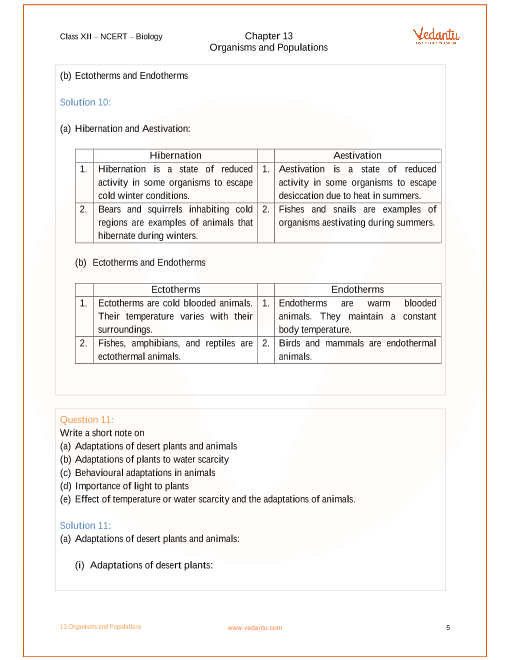 NCERT Solutions for Class 12 Biology Chapter 13 Organisms and