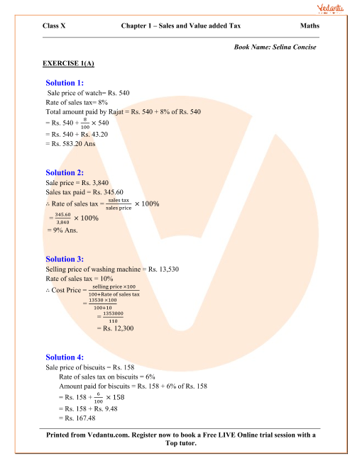Value Added Tax Solutions for ICSE Board Class 10 Mathematics