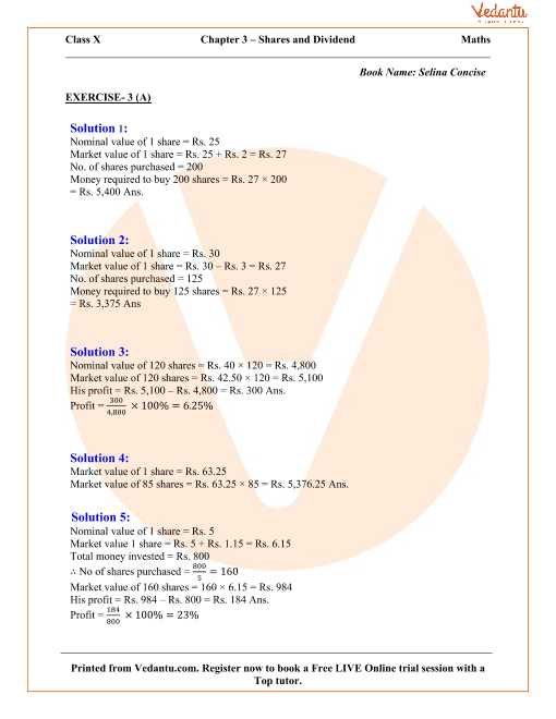 Shares And Dividend Solutions For Icse Board Class 10 Mathematics