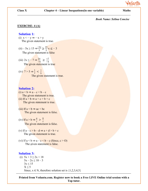 Linear Inequations (In one variable) for ICSE Board Class 10