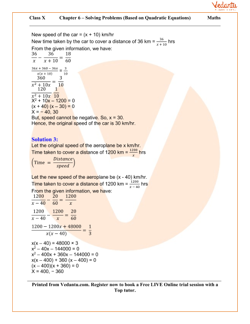 Solving Simple Problems (Based on Quadratic Equations