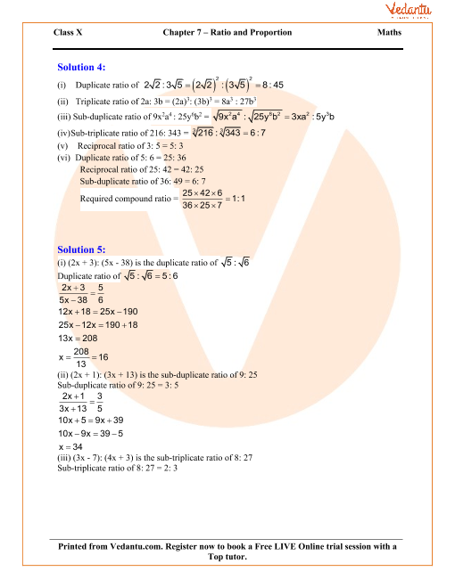 Ratio and Proportion (Including Properties and Uses) Solutions for