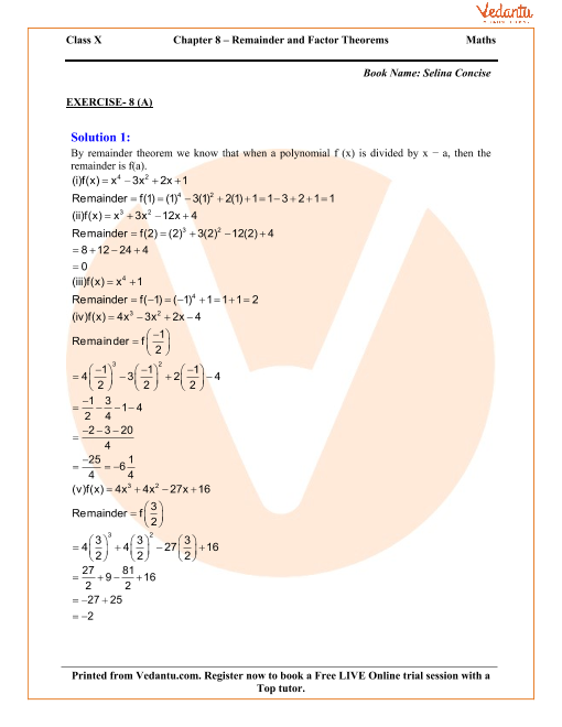 Remainder and Factor Theorems Solutions for ICSE Board Class
