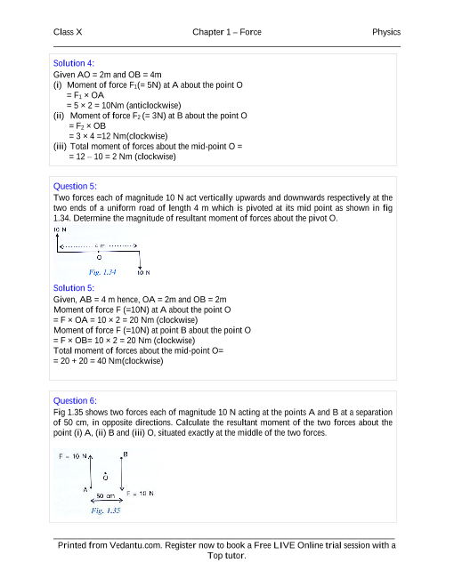 Force Solutions for ICSE Board Class 10 Physics (Concise