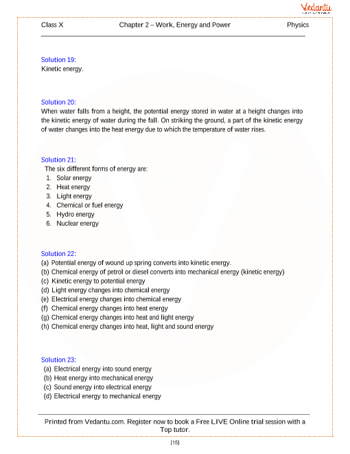 Work, Energy and Power Solutions for ICSE Board Class 10 Physics