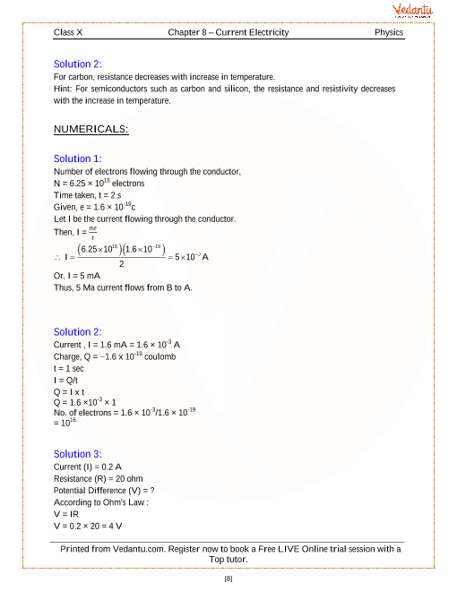 Current Electricity Solutions for ICSE Board Class 10