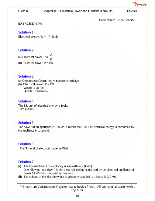 Household Circuits Solutions for ICSE Board Class 10 Physics