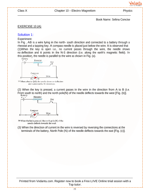 Electro Magnetism Solutions for ICSE Board Class 10 Physics