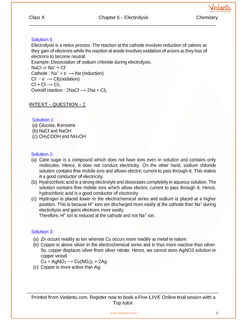 Electrolysis Solutions for ICSE Board Class 10 Science