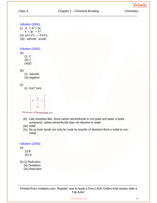 Chemical Bonding Solutions for ICSE Board Class 10 Science (Concise ...