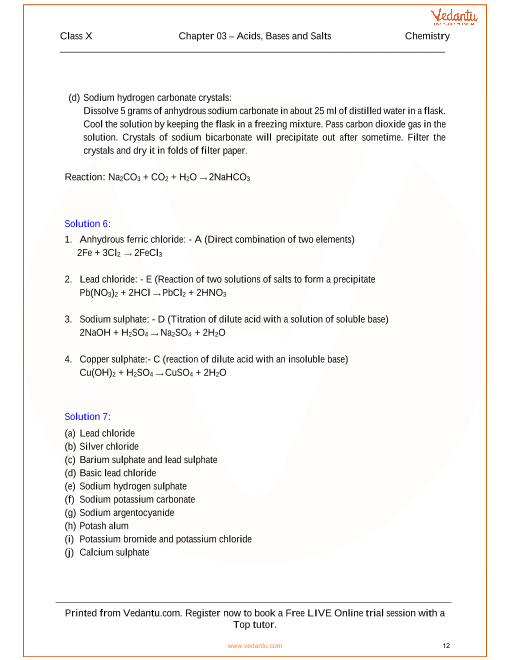 Acids, Bases and Salts Solutions for ICSE Board Class 10 Science