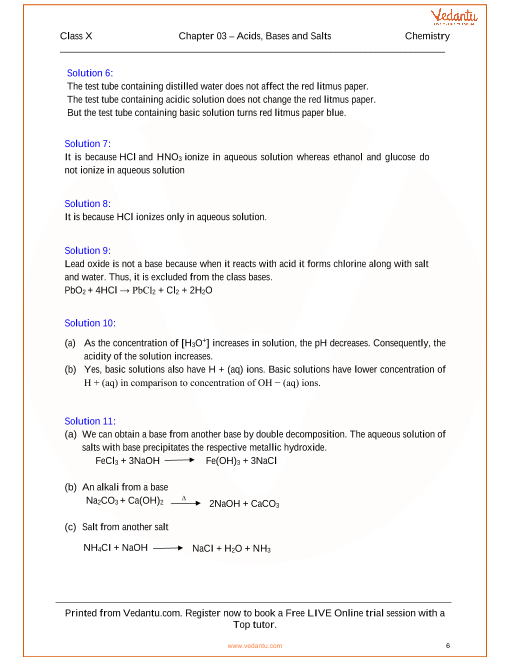 Acids, Bases and Salts Solutions for ICSE Board Class 10 Science ...