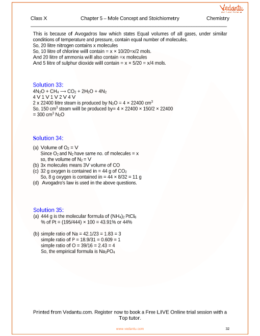 Mole Concept and Stoichiometry Solutions for ICSE Board ...