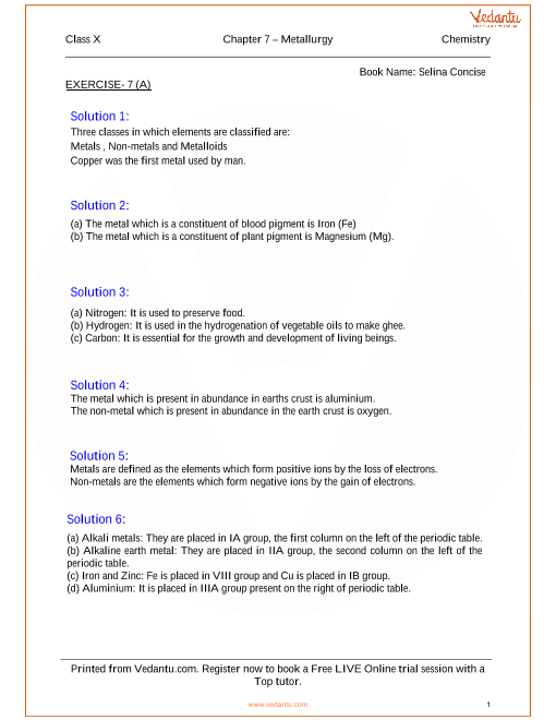 Metallurgy Solutions for ICSE Board Class 10 Science (Concise