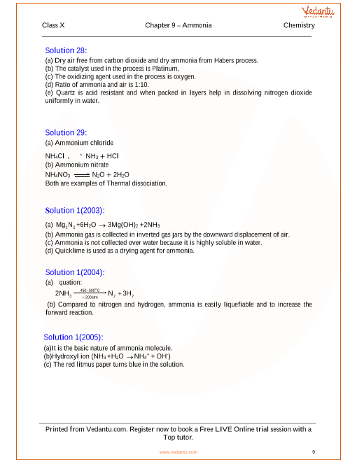 study of compounds ammonia class 10 icse notes