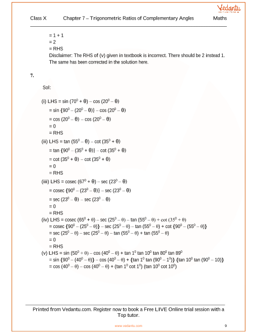 RS Aggarwal Class 10 Solutions Chapter 7 Trigonometric