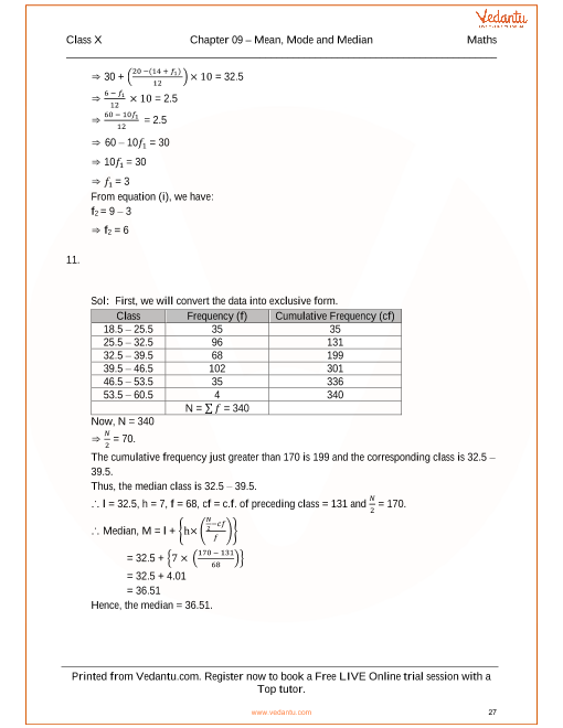 RS Aggarwal Class 10 Solutions Chapter 9 Mean, Median, Mode of