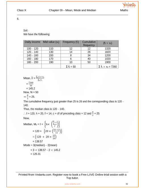 RS Aggarwal Class 10 Solutions Chapter 9 Mean, Median, Mode