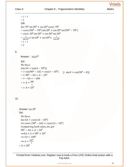 RS Aggarwal Class 10 Solutions Chapter 8 Trigonometric
