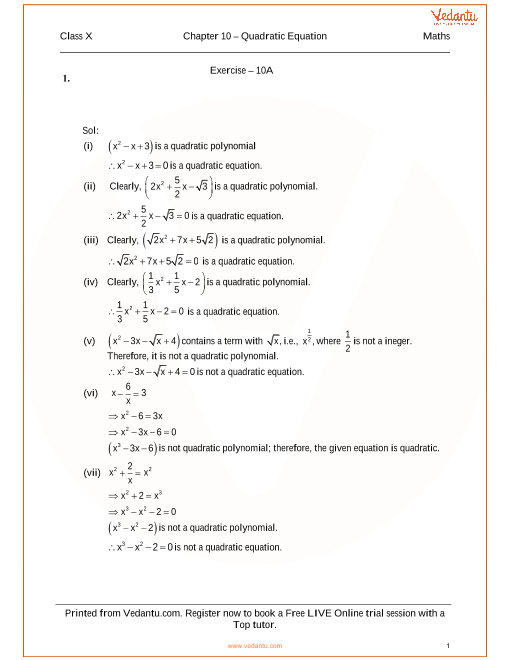 RS Aggarwal Class 10 Solutions Chapter 10 Quadratic Equations