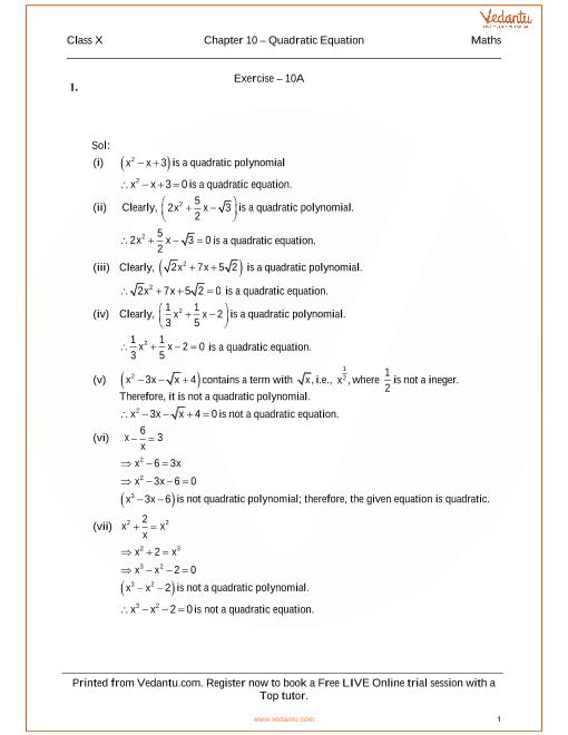 10th Class Math Solution Book