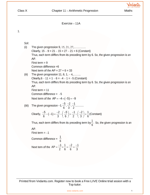 RS Aggarwal Class 10 Solutions Chapter 11 Arithmetic Progression