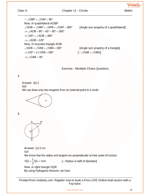 RS Aggarwal Class 10 Solutions Chapter 12 Circles
