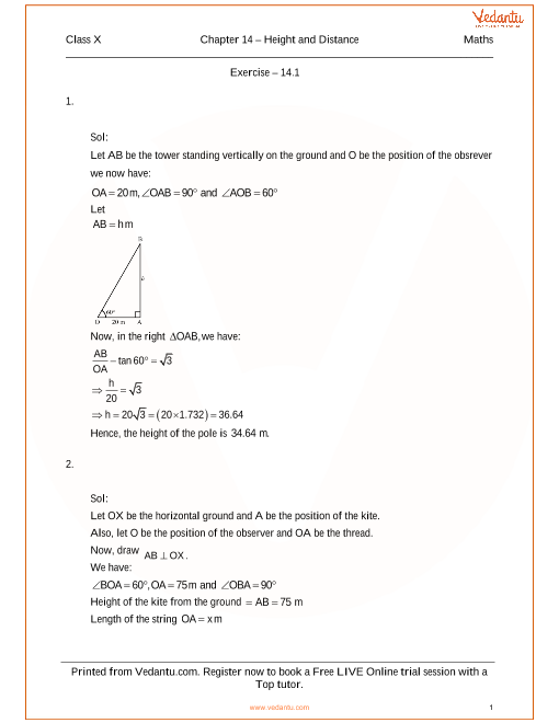 RS Aggarwal Class 10 Solutions Chapter 14 Height and Distances