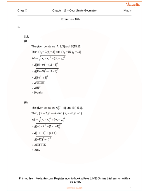 RS Aggarwal Class 10 Solutions Chapter 16 Coordinate Geometry