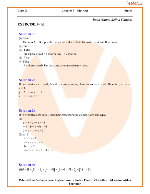 Matrices Solutions for ICSE Board Class 10 Mathematics