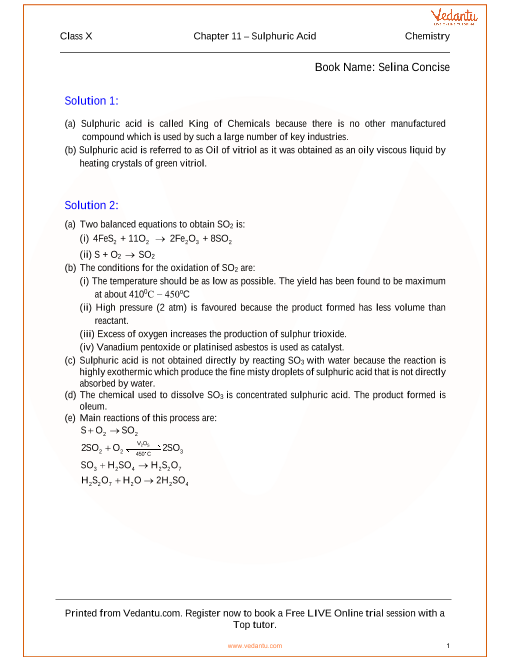 Sulphuric Acid Solutions for ICSE Board Class 10 Chemistry