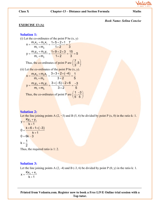 Section and Mid-Point Formula Solutions for ICSE Board Class