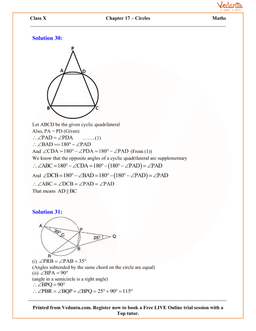 Circles Solutions for ICSE Board Class 10 Mathematics (Concise