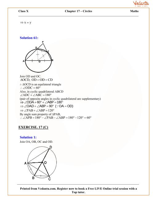 Circles Solutions for ICSE Board Class 10 Mathematics