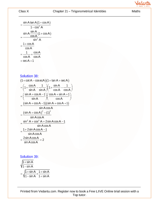 Trigonometrical Identities Solutions for ICSE Board Class 10