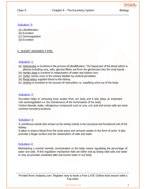The Excretory System Solutions for ICSE Board Class 10