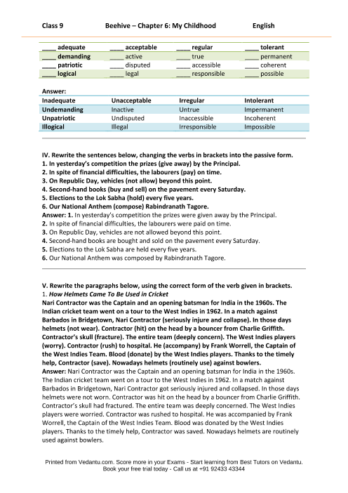 NCERT Solutions for Class 9 English Beehive Chapter 6 - My