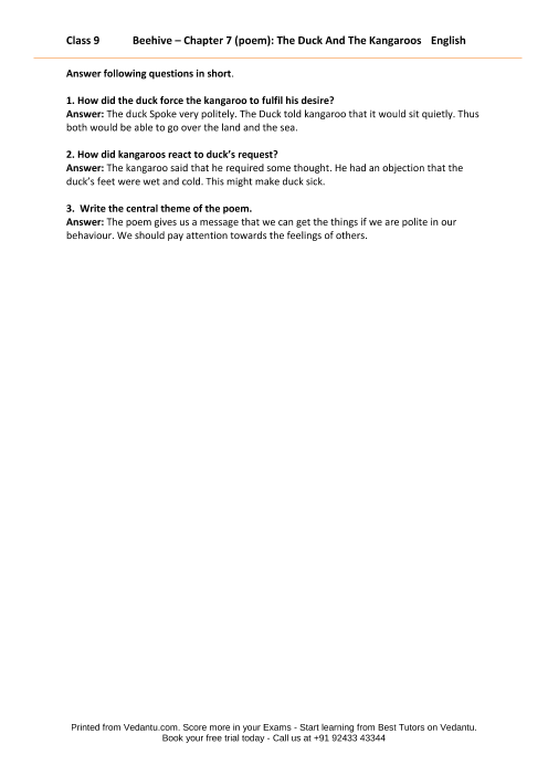 NCERT Solutions for Class 9 English Beehive Chapter 7 - The