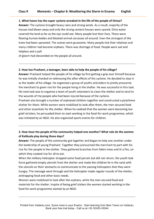 NCERT Solutions for Class 9 English Moments Chapter 6 - Weathering