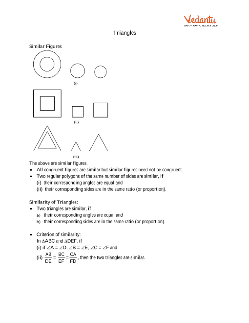 Class 10 Maths Revision Notes for Triangles of Chapter 6