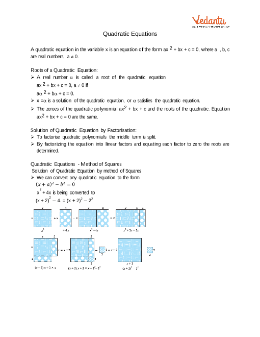 Class 10 Maths Revision Notes for Quadratic Equations of