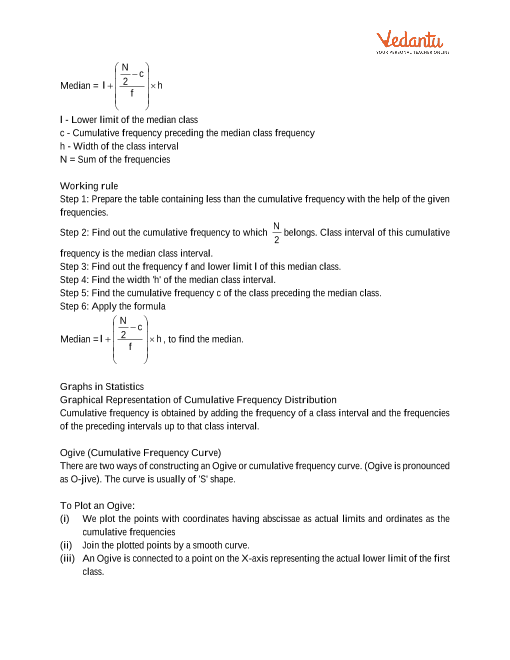 Class 10 Maths Revision Notes for Statistics of Chapter 14