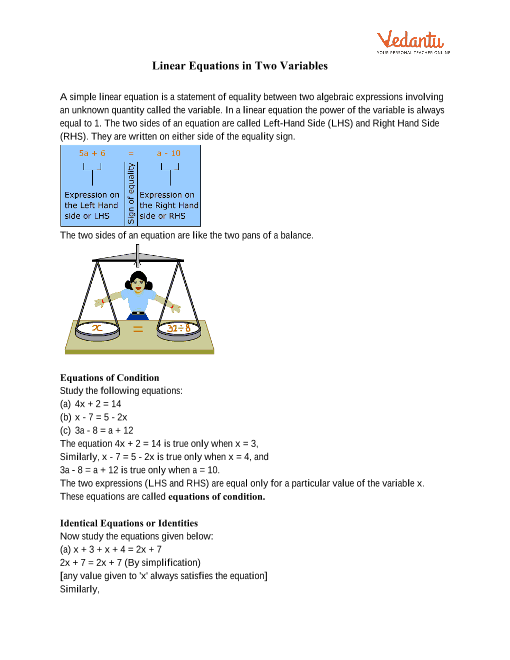 Class 9 Maths Revision Notes for Linear Equations in Two ...