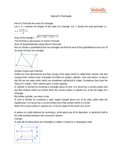 Class 9 Maths Revision Notes for Heron's Formula of Chapter 12