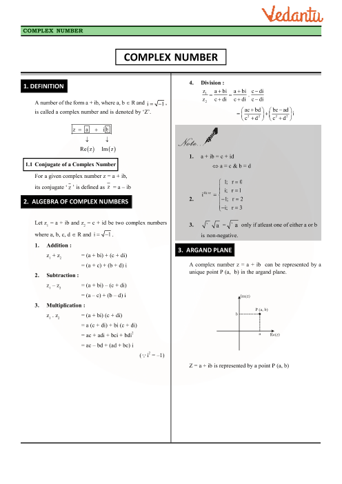 Class 11 Maths Revision Notes for Chapter-5 Complex Numbers