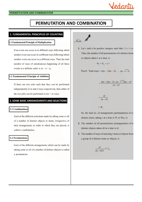Chapter 7 - Permutations and Combinations Revision Notes part-1